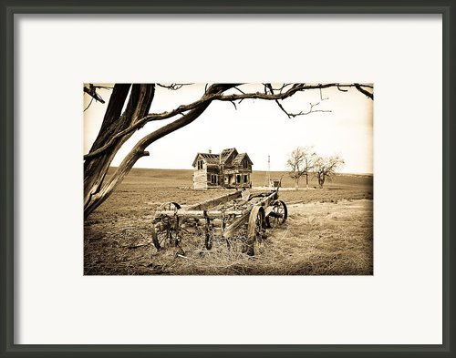 Old Wagon And Homestead Framed Print By Athena Mckinzie
