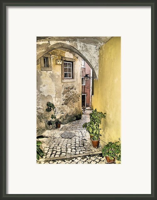 Old World Courtyard Of Europe Framed Print By David Letts