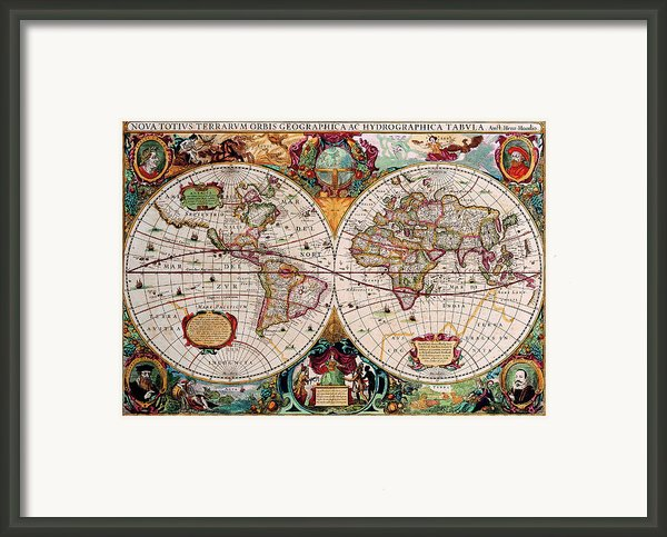 Old World Map Framed Print By Csongor Licskai