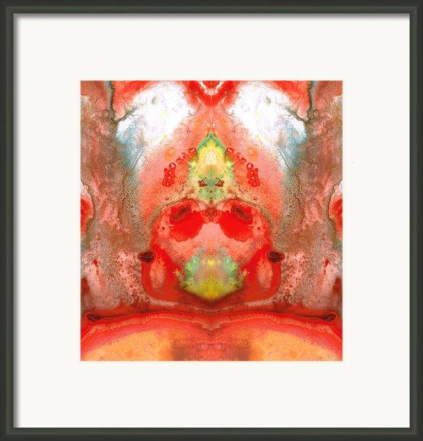 Om - Red Meditation - Abstract Art By Sharon Cummings Framed Print By Sharon Cummings