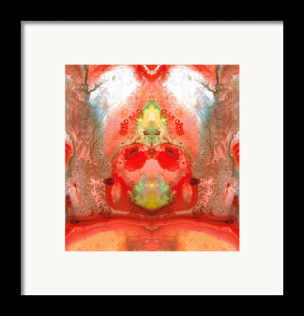 Om - Red Meditation - Abstract Art By Sharon Cummings Framed Print By Sharon Cummings
