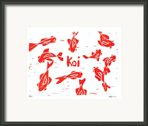 Orange Lazy Koi Framed Print By Lynn-marie Gildersleeve