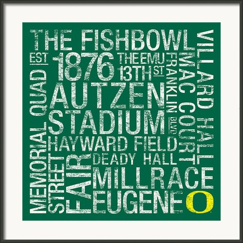 Oregon College Colors Subway Art Framed Print By Replay Photos