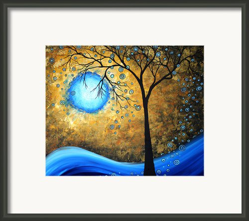 Orginal Abstract Landscape Painting Blue Fire By Madart Framed Print By Megan Duncanson