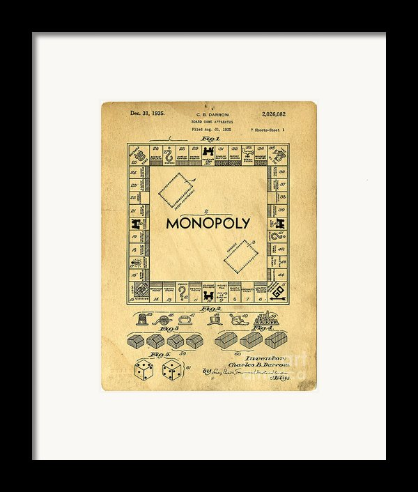 Original Patent For Monopoly Board Game Framed Print By Edward Fielding