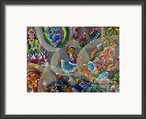 Painted Indian Bodhi Leaves Framed Print By Tim Gainey