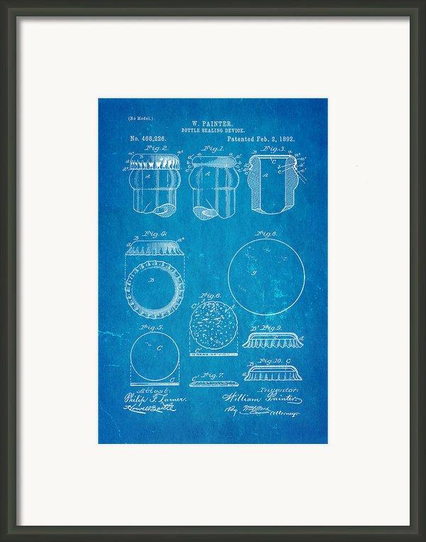 Painter Bottle Cap Patent Art 1892 Blueprint Framed Print By Ian Monk