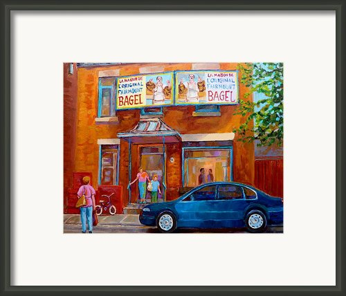 Paintings Of Montreal Fairmount Bagel Shop Framed Print By Carole Spandau