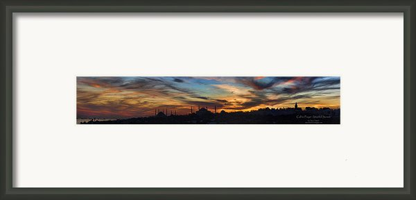 Panorama Of Istanbul Sunset- Call To Prayer Framed Print By David Smith