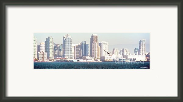 Panoramic Image Of San Diego From The Harbor Framed Print By Artist And Photographer Laura Wrede