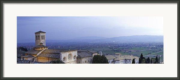 Panoramic View Of Assisi At Night Framed Print By Susan  Schmitz