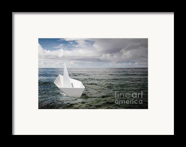Paper Boat Framed Print By Carlos Caetano