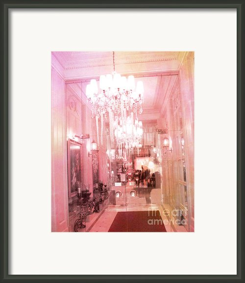 Paris Crystal Chandelier Posh Pink Sparkling Hotel Interior And Sparkling Chandelier Hotel Lights Framed Print By Kathy Fornal