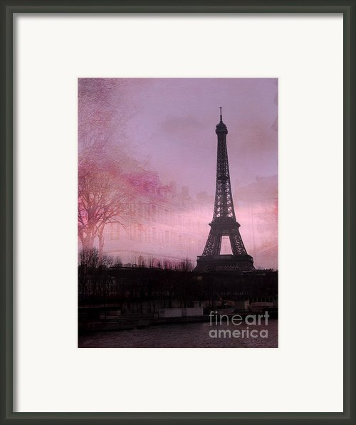 Paris Dreamy Romantic Paris Eiffel Tower Pink Architecture Eiffel Tower Photo Montage Framed Print By Kathy Fornal