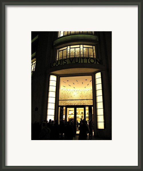 Paris Louis Vuitton Boutique Store Front - Paris Night Photo Louis Vuitton - Champs Elysees  Framed Print By Kathy Fornal