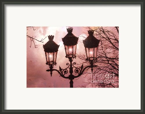 Paris Street Lanterns - Paris Romantic Dreamy Surreal Pink Paris Street Lamps  Framed Print By Kathy Fornal