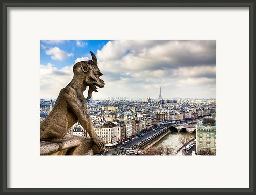 Parisian Gargoyle Admires The Skyline Framed Print By Mark E Tisdale