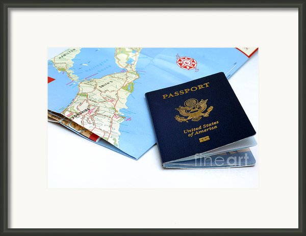 Passport And Map Of Bermuda Framed Print By Amy Cicconi
