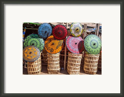 Pathein Umbrellas Framed Print By Judith Barath