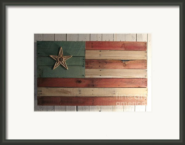 Patriotic Wood Flag Framed Print By John Turek