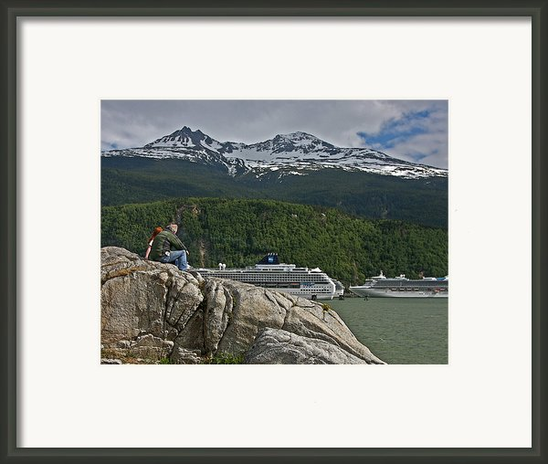 Pause In Wonder At Cruise Ships In Alaska Framed Print By John Haldane