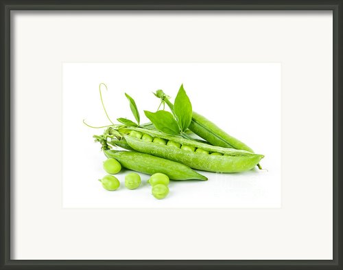 Pea Pods And Green Peas Framed Print By Elena Elisseeva