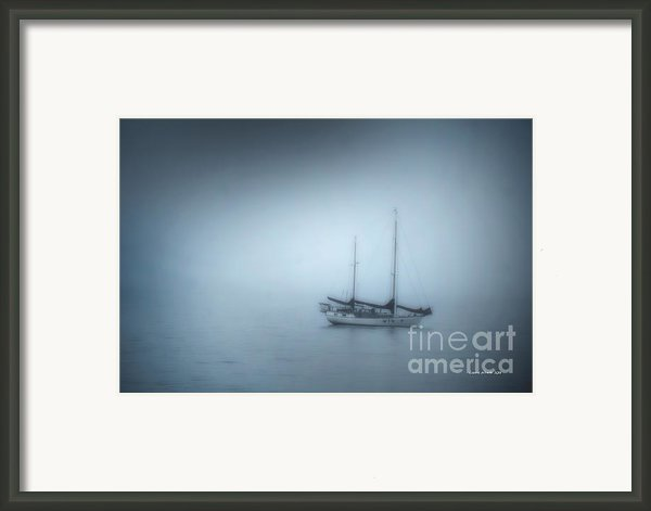 Peaceful Sailboat On A Foggy Morning From The Book My Ocean Framed Print By Author And Photographer Laura Wrede