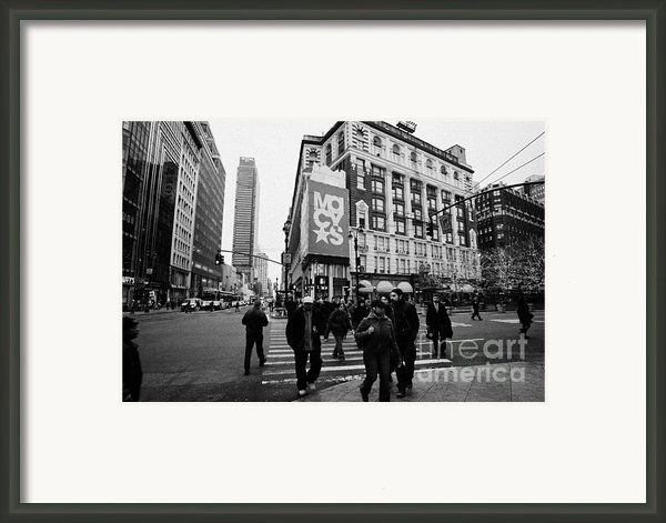 Pedestrians Cross Crosswalk Crossing Of 6th Avenue Broadway And 34th Street At Macys New York Usa Framed Print By Joe Fox
