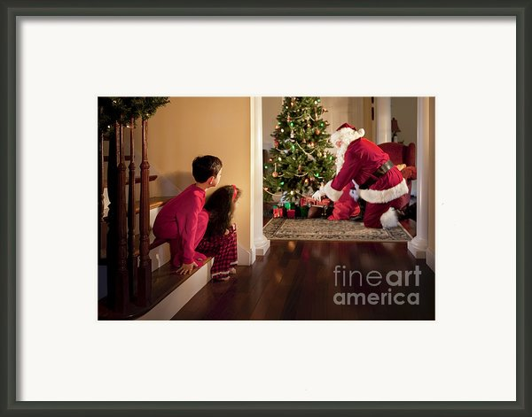Peeking At Santa Framed Print By Diane Diederich