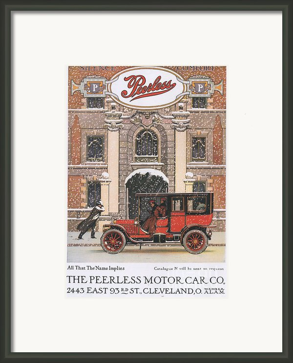 Peerless 1910s Usa Cars Winter Snow Framed Print By The Advertising Archives