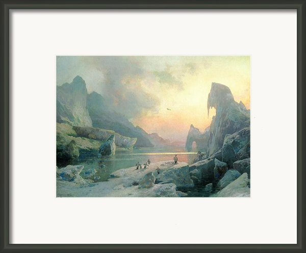 Penguins In An Arctic Landscape At Dusk Framed Print By Herman Herzog