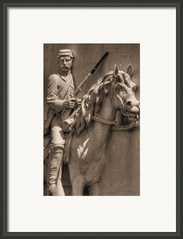 Pennsylvania At Gettysburg - 17th Pa Cavalry Regiment - First Day Of Battle Framed Print By Michael Mazaika