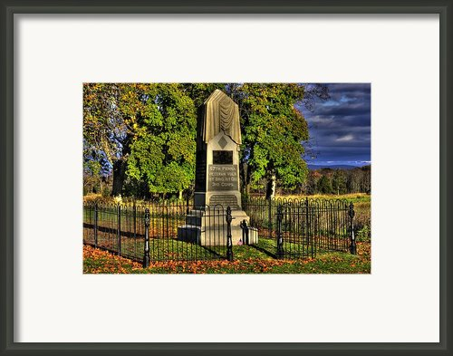Pennsylvania At Gettysburg - 57th Pa Veteran Volunteer Infantry Sunrise Autumn Steinwehr Avenue Framed Print By Michael Mazaika