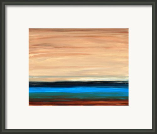Perfect Calm - Abstract Earth Tone Landscape Blue Framed Print By Sharon Cummings