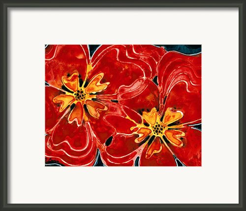 Perfect Union Red Flowers Framed Print By Sharon Cummings