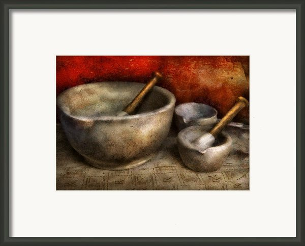 Pharmacist - Pestle And Son  Framed Print By Mike Savad