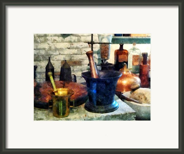 Pharmacist - Three Mortar And Pestles Framed Print By Susan Savad