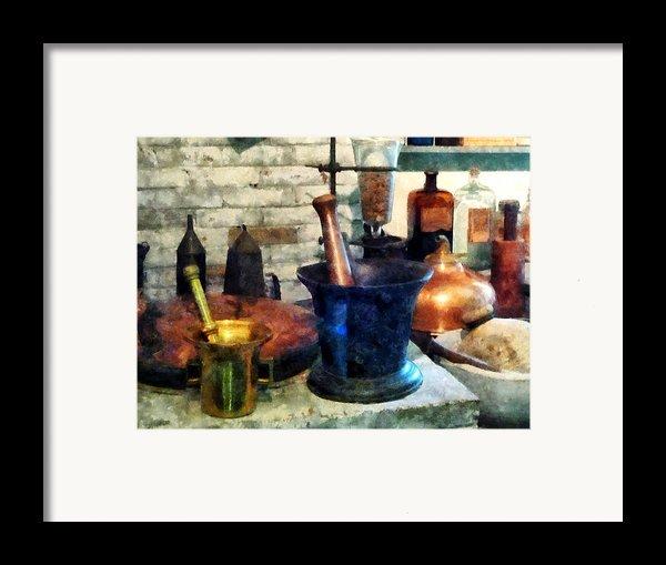 Pharmacist - Three Mortar And Pestles Framed Print By Susan Savad