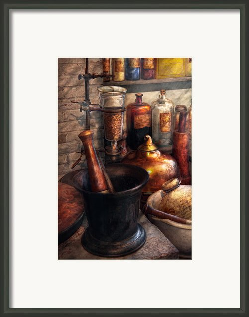 Pharmacy - Pestle - Pharmacology Framed Print By Mike Savad