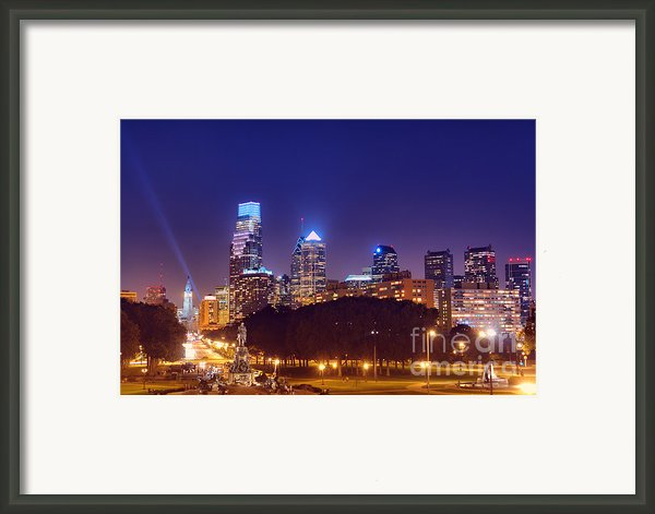 Philadelphia Nightscape Framed Print By Olivier Le Queinec