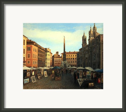 Piazza Navona In Rome Framed Print By Kiril Stanchev