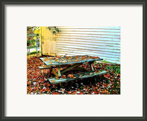 Picnic Table In Autumn Framed Print By Julie Dant