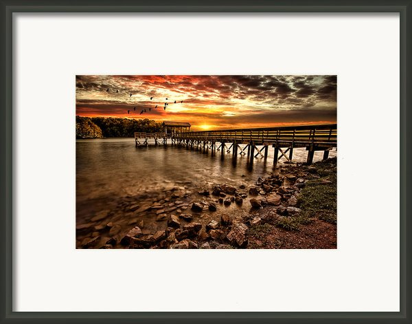 Pier At Smith Mountain Lake Framed Print By Joshua Minso