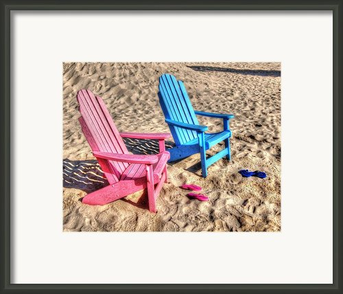 Pink And Blue Beach Chairs With Matching Flip Flops Framed Print By Michael Thomas