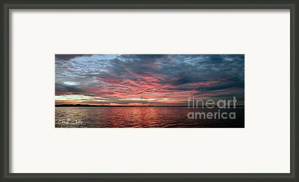 Pink And Grey At Sea - Sunrise Panorama  Framed Print By Geoff Childs