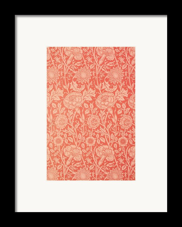 Pink And Rose Wallpaper Design Framed Print By William Morris