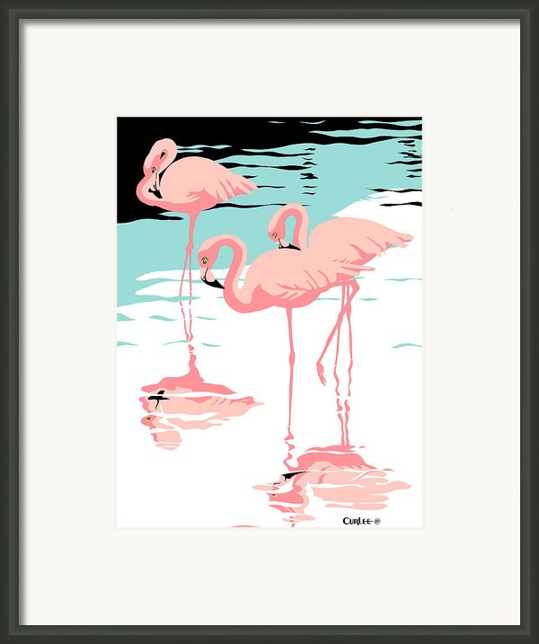 Pink Flamingos Tropical 1980s Pop Art Nouveau Graphic Art Retro Stylized Florida Scene Print Framed Print By Walt Curlee
