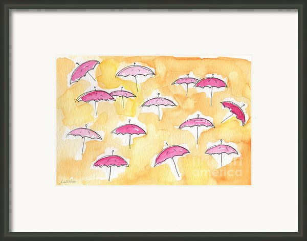 Pink Umbrellas Framed Print By Linda Woods