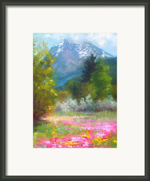 Pioneer Peaking - Flowers And Mountain In Alaska Framed Print By Talya Johnson