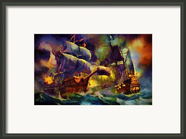 Pirate Battle Framed Print By Christopher Lane